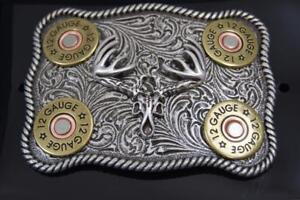 Nocona  Whitetail Buck Skull Shotgun Shells Rectangular Belt Buckle 37526