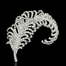 VINTAGE INSPIRED PLATINUM  PLATED CLEAR CRYSTAL CLASSIC PEACOCK FEATHER  BROOCH