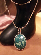 """BEAUTIFUL NAT. TURQUOISE GEM 100% SOLID 925 STERLING SILV.PENDANT+16"""" BALL CHAIN"""