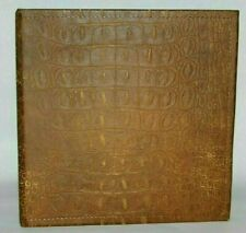 Chocolate Aged Amp Distressed Alligator Embossed Leather 2 3 Ring Binder