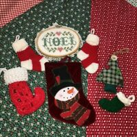 Vintage Christmas Lot of 6 Fabric Ornaments + Cross Stitch Noel Sampler Gift Bag
