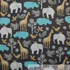 BonEful Fabric FQ Flannel Quilt Gray Elephant Blue Bird Yellow Giraffe Baby Boy