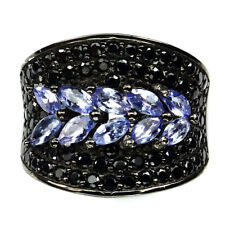 Gorgeous 4x2mm Top Blue Violet Tanzanite Black Spinel 925 Sterling Silver Ring 8