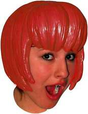 Anime Red Bob Latex Wig Fancy Dress Manga Cosplay