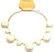 Monet Womens Goldtone Statement Necklace w/ Simulated Marble Cabochon | M78.2
