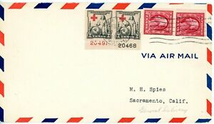 """EFO 702 PLATE PAIR RED CROSS INTO """"P"""" & SCARCE COVER USE OF 409V PASTE UP PAIR!"""
