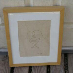 Original MARK KOSTABI Framed Ink Drawing / Illustration (Signed) Chalice Couple