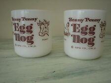 VINTAGE HENNY PENNY EGG NOG MILK GLASS CUPS Set Of 2 Nice Collectables