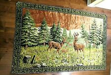 Vintage Italian Tapestry Rug - Deer in the Forest 4' x 6'