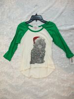 Cute green long sleeves Christmas, Xmas top for girls cat sheep size Medium 8-10