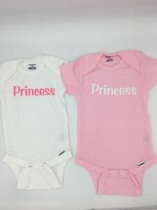Baby Girl Clothes Gerber 2 PACK Girls Onesies White Pink Princess NEW