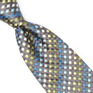 Ungaro Mens Silk Necktie Gray Green Blue Check Stripe Woven Tie Made in Italy