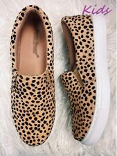 NEW KIDS CHEETAH CANVAS FLAT LOAFER SHOES SIZE 12, 1, 2, 3, 4