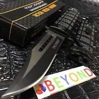 Tac Force Spring Assisted Half Serrated Sawback Bowie Pocket Knife TF-710BK