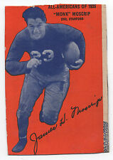 1935 Wheaties Box College Football Card of Stanford All American Monk Moscrip