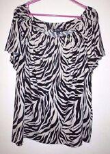 New Women's Plus Size 3X Allen B. Schwartz Zebra Tiger Print Top Blouse Shirt