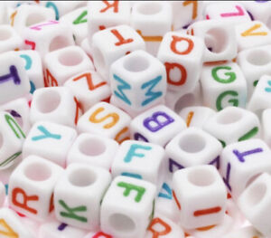 3 For 2 100 X 6mm WHITE COLOUR ACRYLIC CUBE ALPHABET LETTER PONY BEADS MIXED A-Z