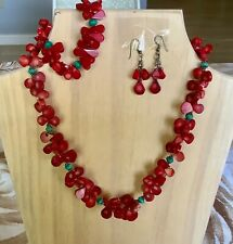 4pc SET RED Coral & BLUE PERSIAN Turquoise Necklace Bracelet Earrings & Ring