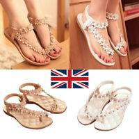 Women Boho Floral Clip Toe Cross Strap Flat Non-slip Sandals Thong Slippers UK