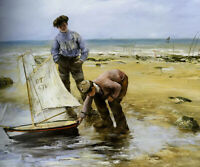 Oil painting Norbert Goeneutte-Children playing on the Beach Le Treport canvas
