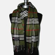 New Fashion100% Cashmere Scarf Khaki Check Plaid Scotland Made Wool Unisex(A11cr