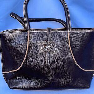 St Louis Paris Dark Brown With Tan Trim Double Shoulder Straps Zip Close Bag