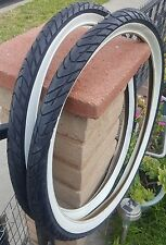 "Two 26x2.125"" WHITE WALL Beach cruiser BIKE BICYCLE Duro SLICK TIRES"