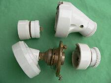 2 appliques 2 prises fiches porcelaine douilles laiton ancien électricité maison