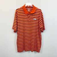 Majestic Denver Broncos NFL Striped Short Sleeve Orange Polo Shirt Mens size 2XL