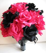 17 pcs Wedding Bouquet Bridal Silk flowers BLACK Dark PINK FUCHSIA Package set