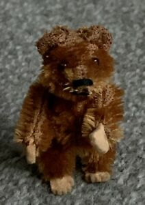 "RARE  ANTIQUE TINY MINIATURE 2.5"" Cinnamon MOHAIR SCHUCO PICCOLO BEAR NR"