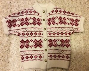 Janie and Jack Poinsetta Red and White Christmas/Sweater SZ 4 EUC
