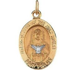 Two Tone Mary Mother Of The Holy Spirit 14K Yellow & White Gold Religious Medal