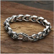 """Real 925 Sterling Silver Bracelet Link Chain Skull Heavy Men's Length 8.5"""""""