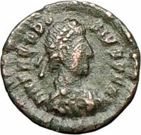 THEODOSIUS I the Great 384AD Ancient  Roman Coin VICTORY ANGEL Nike  i28018