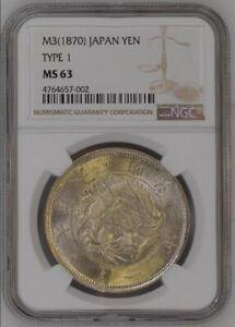 MEIJI Dollar -- M3(1870) JAPAN TYPE 1 YEN  -- NGC MS63