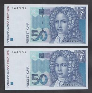 🔴CROATIA  50 Kuna 1993 UNC   P31a   Pair with consecutive serial numbers🔴