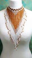 Stunning Vintage Glass Seed Bead Extra Long Statement Necklace Choker White Gold