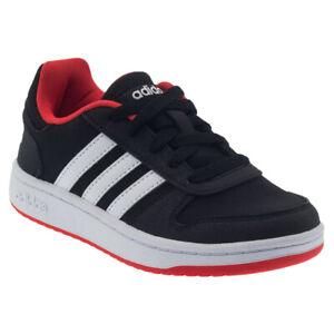 adidas NEO Hoops 2.0 Basketball Trainers Black Kids Shoes UK 5.5 B76067