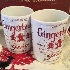 Set of 2 - 222 Fifth Santa Company Gingerbread Coffee Mugs Vintage Style Retro