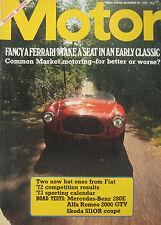 Motor magazine 30/12/1972 featuring Fiat X1/9, Abarth, Ferrari, Alfa Romeo GTV