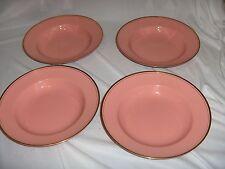 4 Rim Soup Bowls Fitz & Floyd China Pink Coral Rose Pavillon RARE