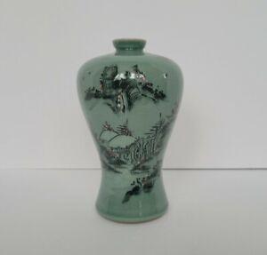 """Korean Celadon Vase Crackle Glaze 7.25"""" Floral Garden, Green, Red, Signed"""