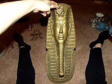 "19.5"" tall EGYPTIAN Pharoah KING TUT head bust statue wall figural brass gold"