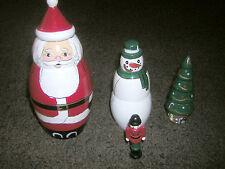 "Christmas Hand Painted Wooden Nesting Santa, Snowman, Tree & Nutcracker 6.5"" NIB"