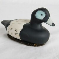 """Bisque Ceramic Duck Goose Lint Brush Black White Blue 5"""" long 3"""" tall Dad Gift"""