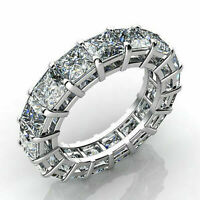 Solid 14k white Gold 6.99ct Princess cut Eternity Engagement Diamond Ring Band