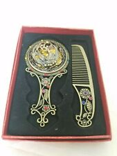 Antiqued Looking Small Hand Purse Mirror And Comb Set
