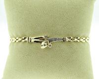 "Estate Genuine Diamonds Solid 14k Two-Tone Gold 7.25"" Bracelet"