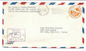 US APO Army Cover - Passed by Army Examiner, Signed - Postal Stationary UC4